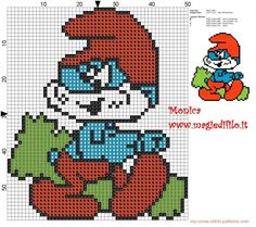 Papa Smurf cross stitch pattern (click to view)