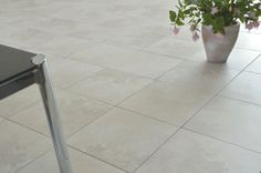 Greco Ivory 33.5x33.5cm floor tile by Certeca (Spain). A stone-effect ceramic floor tile with a matt finish.