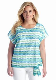 Alfred Dunner  Plus Size Ocean Drive Collection Tie Front Wave Top
