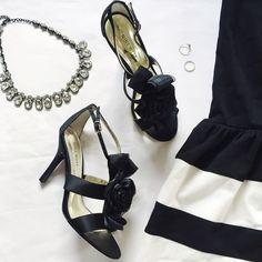 Nine West   Black floral detail heels Excellent condition! Only worn once • 11247 • Nine West Shoes Heels