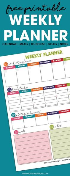 This free printable undated Weekly Planner is the best way to get your entire week organized. It includes a calendar, meal plan, to-do list, goals and notes all on one easy to manage page. To Do Planner, Family Planner, Goals Planner, Free Planner, Happy Planner, Planner Ideas, Best Weekly Planner, College Planner, Weekly Workouts
