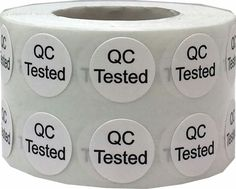 These are very small quality control stickers that say QC Tested.   The QC stickers are very tiny, measuring at 12 diameter round. These can fit inside of a dime with room to spare.  We make these using a semi gloss paper and eco-friendly black ink. Easy to peel from the roll and apply to everything from paperwork, files and packages.  Let us know if you have any questions.  #QCOK #TESTEDOKLABELS #INVENTORYLABELS