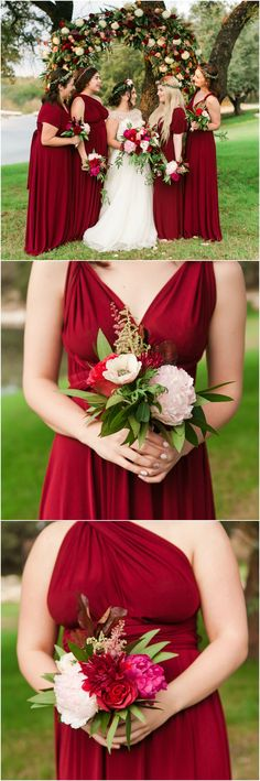 Burgundy red bridesmaid dresses, mismatched necklines, deep scarlet, peony and dahlia bouquets // Angela King Photography