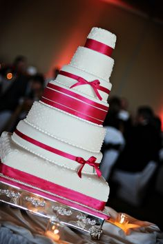 7-Tier Classic Pink Wedding Cake. pink wedding inspiration. summer wedding. hot pink