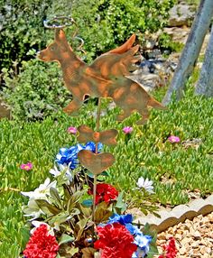 German Shepherd garden art pet memorial metal yard art garden plant stake by Garden Copper Art is a fitting tribute to honor your beloved pet. Created in fine artisan detail this angel grave marker features a Shepherd dog with a halo suspended overhead, angel wings, and is accented with a heart and bone. Designed for be displayed in pots, planters, memorial, and garden settings. Available now for purchase. MEASUREMENTS: Please read measurements, thank you! ♥ Stake overall measures…