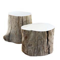 Painted top tree stump table.