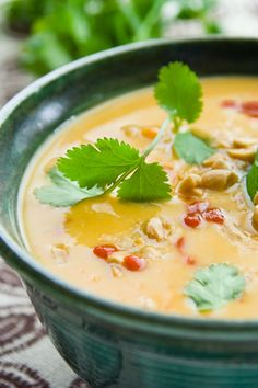 sweet potato and peanut soup with garlic, coconut milk, lime, and cilantro