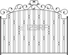 Puerta de hierro forjado, puerta, valla, ventana, Grill, Arte Baranda Dise�o vectorial photo                                                                                                                                                                                 Más