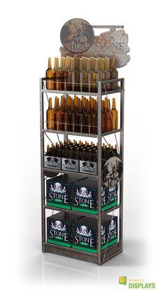 Liquor Display 5 Shelf Rust Look Floor Stand with Rebar