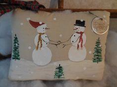Primitive Hand Painted Folk Art Winter Friends by auntiemeowsprims