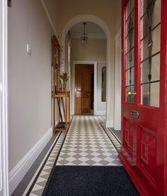 Victorian floor tiles - dorchester pattern with woolf borde pattern floor i Tile Bedroom, Bathroom Floor Tiles, Tile Floor, Hall Flooring, Porch Flooring, Porch Tile, Entryway Flooring, Vestibule, 1930s House Interior