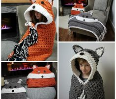 MJ's Off The Hook Designs is at it again! After releasing the popular crochet hooded owl blanket, she just released this crochet hooded fox blanket. Like the hooded owl blanket, this one folds into a pillow as well. Not into foxes? Well, the pattern also includes instructions on making a super cute crochet hooded wolf …