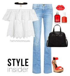 """""""Happy Wednesday"""" by liz-chirinos-godoy on Polyvore featuring Frame Denim, Madewell, Carlos by Carlos Santana, New Look, Furla, Lime Crime, Cacharel and Essie"""