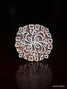 "Hand Carved Indian Wood Textile Stamp Block- Round Floral Design. 1.75"""