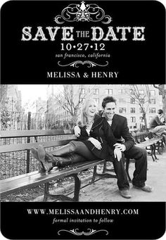 classic and high impact black and white will be perfect for mad men inspired engagement photooooos what do you think heather save the date magnets haute