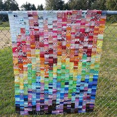 chezzetcook modern quilts: WiP Wednesday: the one with Volume. Beautiful scrappy rainbow quilt!