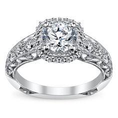 Mine please! Tacori 18K White Gold Diamond Engagement Ring Setting