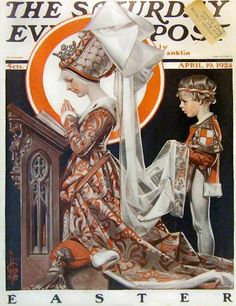 "Giclee Print: ""Medieval Easter,"" Saturday Evening Post Cover, April 1924 by Joseph Christian Leyendecker : American Illustration, Illustration Art, Vintage Posters, Vintage Art, Jc Leyendecker, Norman Rockwell Art, Saturday Evening Post, Easter Saturday, Artist Gallery"