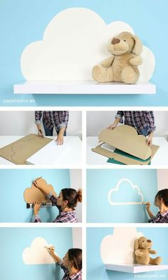 20 cool DIY shelf ideas to enhance your boy& room wall .- 20 cool DIY shelf ideas to enhance your boy& room wall … 20 cool DIY shelf ideas to enhance your boy& room wall 20 cool DIY shelf ideas to enhance your boy's room wall – – - Cloud Shelves, Toy Shelves, Baby Room Decor, Bedroom Decor, Baby Room Diy, Bedroom Ideas, Kid Decor, Nursery Decor, Wall Decor