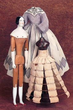 M& - Margaret Hartshorn Collection: 26 Exceptional German Porcelain Lady with Wooden Articulated Body Victorian Dolls, Antique Dolls, Victorian Dollhouse, Modern Dollhouse, China Dolls, Doll Costume, Vintage Paper Dolls, Old Dolls, Wooden Dolls