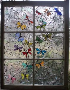 Mosaic window with butterflies