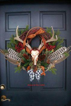 Deer antler pheasant and turkey feather Elegant wildlife wreath - - my new room - Thanskgiving Hunting Wreath, Antler Wreath, Feather Wreath, Seasonal Decor, Fall Decor, Holiday Decor, Christmas Wreaths, Christmas Crafts, Christmas Decorations