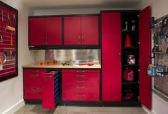 Wonderful Garage Cabinets Sears to Save Space in Your Garage Perfectly: Minimalist Modern Style Red Black Garage Cabinets Sears ~ stepinit.com Garage Designs Inspiration