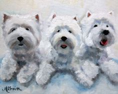 PRINT White Westie West Highland Terrier Dog Puppy Art Oil Painting / Mary Sparrow Smith