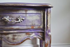 Gypsy Purple Chalk Painted Bohemian Nightstand Rustic Distressed Purple Over…