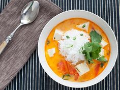 Coconut-poached tofu with lemongrass and red curry [Recipe] | HellaWella