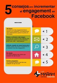 5 consejos para incrementar el engagement en Facebook. Infografía en español. #CommunityManager