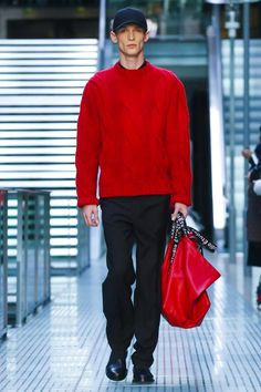 Etudes Studio Menswear Fall Winter 2015 Paris trend classic knit pullover in red, red coloured sac bag