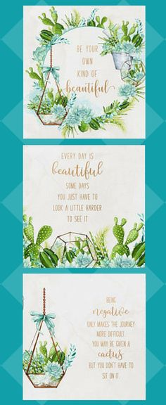 Cactus and succulent watercolor wall art printables with positive messages, $5 #cactus #cacti #succulents #printable #wallart #homedecor #affiliate #etsy