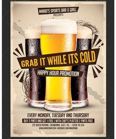 Beer Promotion Happy Hour Flyer Template - Party Flyer Templates For Clubs Business & Marketing