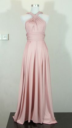 Full length bridesmaid dress Convertible Dress in Pale Nude Creamy Pink Infinity Dress Multiway Dress Royal Pastel Pink Powder on Etsy, $52.23