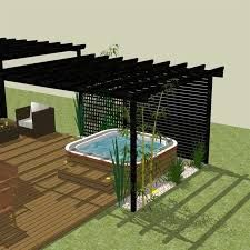 Pergola With Retractable Canopy Kit Refferal: 2454968093 Outdoor Spa, Outdoor Landscaping, Outdoor Living, Hot Tub Backyard, Hot Tub Garden, Patio Roof, Pergola Patio, Pergola Ideas, Outdoor Structures