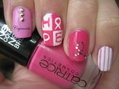 October- Breast cancer awereness Nail art by Cajanails http://www.youtube.com/cajanails