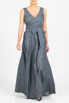 A wide V-neck lends alluring sophistication to our cotton chambray maxi dress with a full flare skirt and a sash tie belt at the seamed waist. (affiliate)