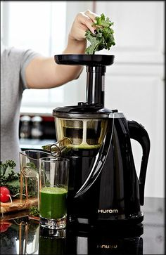 The Hurom Slow Juicer, Black - I've been reading the reviews for this juicer and so far so good. I need a slow juicer for the kale and swiss chard & most of the green leafy vegetables my regular high powered juicer can't seem to handle creating a lot of waste (vegetable & cost).