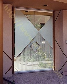 Monochrome glass doors etched frosted contemporary courtyard glass doors by Sans Soucie Art Glass. Brown Front Doors, Front Doors With Windows, Front Door Entrance, Front Door Colors, Glass Front Door, Eclectic Front Doors, Modern Front Door, Glass French Doors, Glass Doors