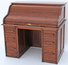 Antique oak roll top desk Writing Bureau, Writing Table, Antique Desk, Antique Furniture, Nantucket Cottage, Oak Desk, Lost Girl, Desk Accessories, Fine Furniture