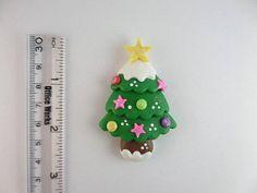 Christmas tree Green. Clay Charm Bead Scrapbooking Bow