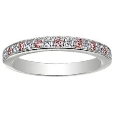 Platinum Pavé Milgrain Diamond and Pink Sapphire Ring from Brilliant Earth: Brilliant diamonds and natural, soft pink Malawi sapphires are pavé-set halfway around this classically feminine band. The milgrain detailing on the edges adds a touch of sparkle and romance.