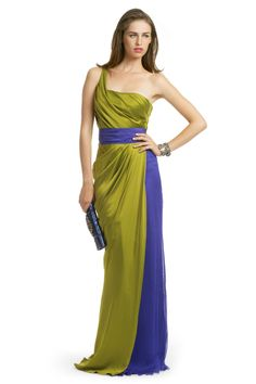 these colors with cream or champagne for wedding! Carlos Miele Rainforest Colorblock Gown