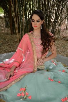 Light Lehenga - Coral Dupatta and Blouse with Powder Blue Lehenga | WedMeGood | Powder Blue Lehenga with Floral Scattered Threadwork, Coral Blouse with Dull Gold Embroidery with Coral Dupatta