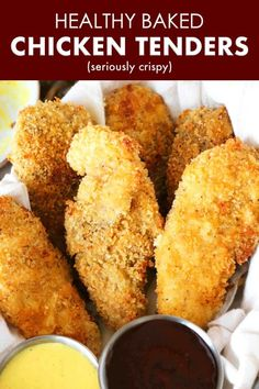 Healthy Baked Chicken Tenders With Panko Breadcrumbs How To Make Crispy Oven-Fried Chicken Tenders With 2 Simple Steps That Ensure Extra Crunchy Chicken Tenders Every Time A Healthy Chicken Dinner Option You'll Love. Baked Chicken Tenders Healthy, Oven Fried Chicken Tenders, Baked Chicken Tenderloins, Baked Chicken Strips, Crispy Oven Fried Chicken, Baked Chicken Recipes, Bread Crumb Chicken Baked, Baked Chicken Fingers, Easy Chicken Tender Recipes