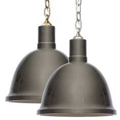 "This small Barbara Cosgrove pendant light provides versatile, minimalistic style to modern bedrooms, kitchens, and living spaces. A fired, hand-glazed ceramic shade suspended from a classic chain provides glossy appeal to light up a room.14.5""H. 12.5""Diameter. Chain: 3'L. Clay Gray finish. Brass or nickel chain available. Hardwired. Accepted two 60-watt bulbs (not included)"