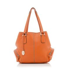 A classic Tod's tote in pebbled orange leather with gold-tone hardware. Details include two flat handles, two side pockets, a snap closure, and fully lined interior with one zippered pocket.