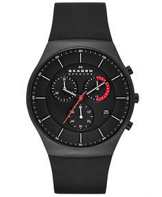 Skagen Men's Chronograph Black Silicone Strap Watch 42mm SKW6075