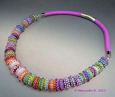 Artist handmade lampwork glass bead necklace by ManuelasGlassArt, $655.00